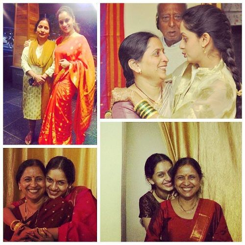 A collage of Sukhada Khandkekar and her mother
