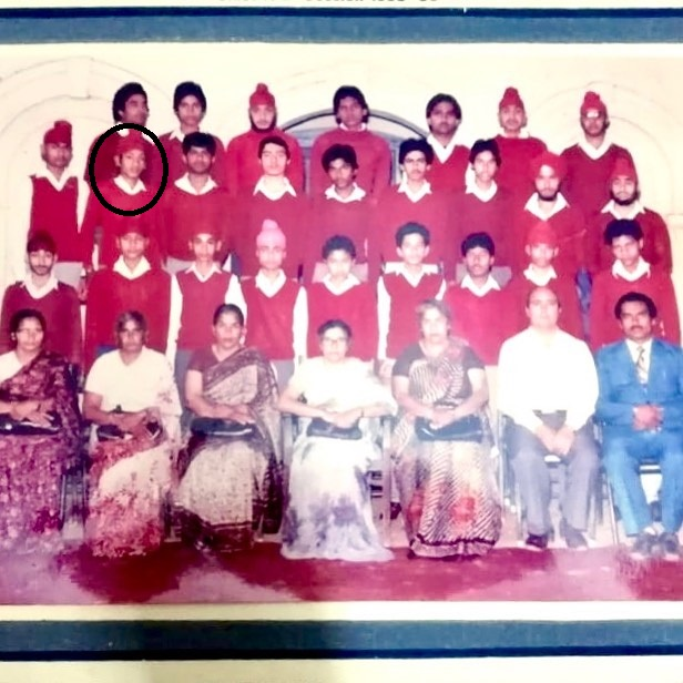 A school group photo featuring Gurpreet Ghuggi (face encircled)
