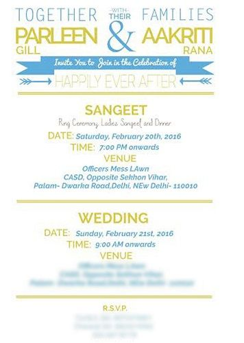 Aakriti Rana's wedding card