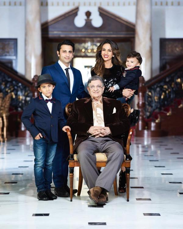 Adar Poonawalla along with his father, wife, and children at Adar Abad Poonawalla House