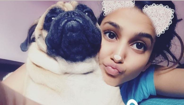 Amandeep Sidhu and her pet dog