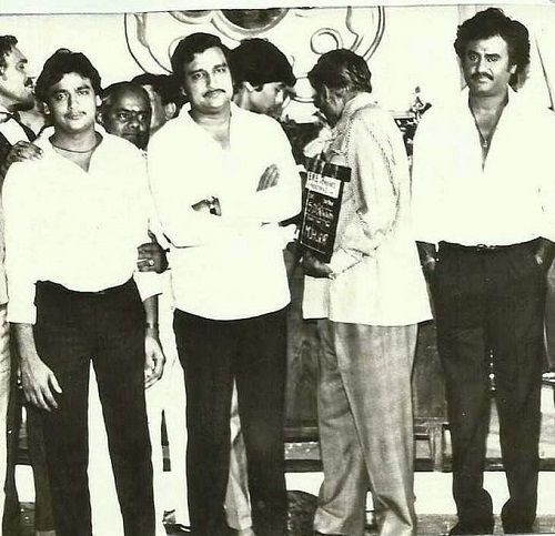 An old picture of K. C. Bokadia with Rajinikanth