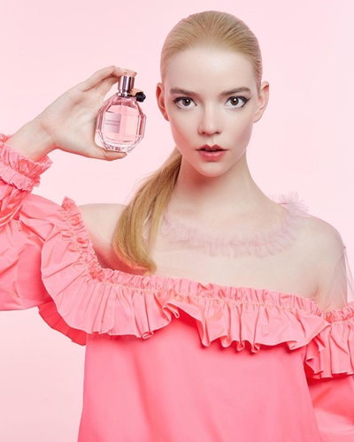 Anya Taylor-Joy promoting the 'Flowerbomb' collection from Viktor and Rolf Fragrances