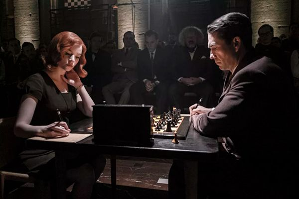 Beth Harmon (played by Anya Taylor-Joy) playing chess with Vasily Borgov (played by Marcin Dorociński) in a scene from The Queen's Gambit (2020)