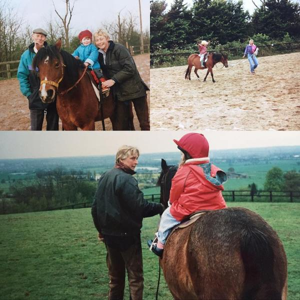Childhood picture of Chloe Pirrie riding a horse