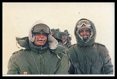 Deependra Sengar (on the left) at Siachen