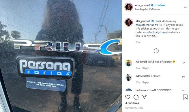 Ella Purnell talking about her car in an Instagram post