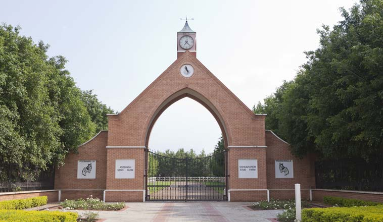 The entrance of the Poonawalla Stud Farmhouse