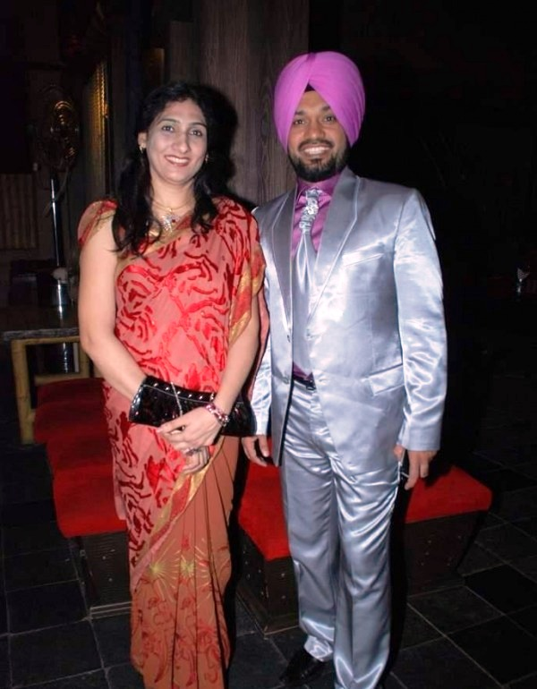 Gurpreet Singh Ghuggi with his wife at a party conducted by the Hans Baliye production team