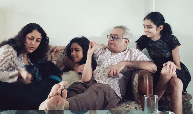 Hansal Mehta with his daughters (Rihanna in the middle and Kimaya on the right)