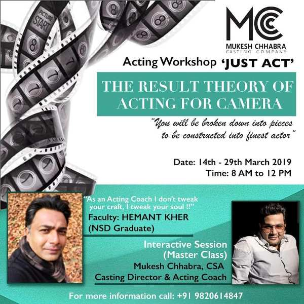 Hemant Kher conducting the acting workshop JUST ACT