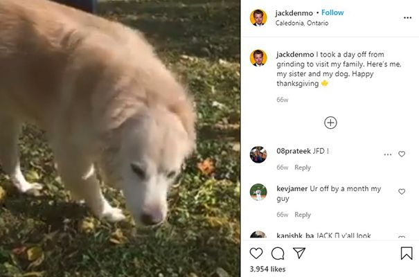 Jack Denmo talking about his pet dog in an Instagram post