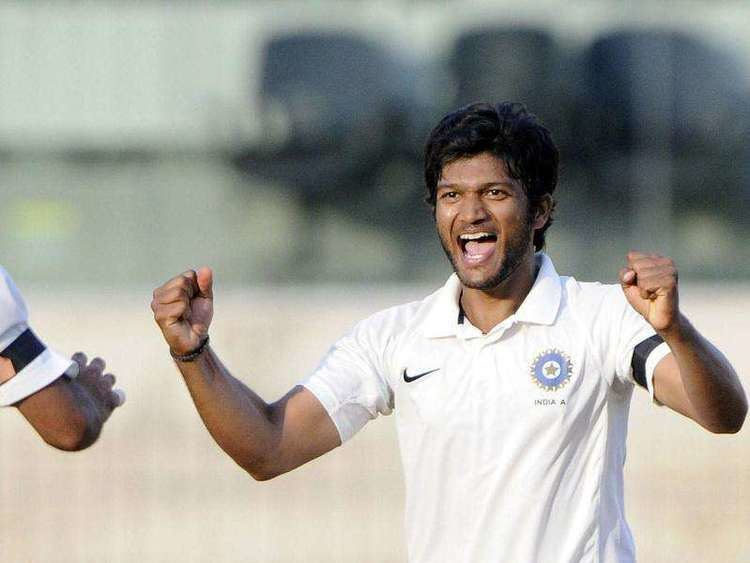 Jalaj Saxena celebrating the wicket of an Australia A batsman on his debut match for India A