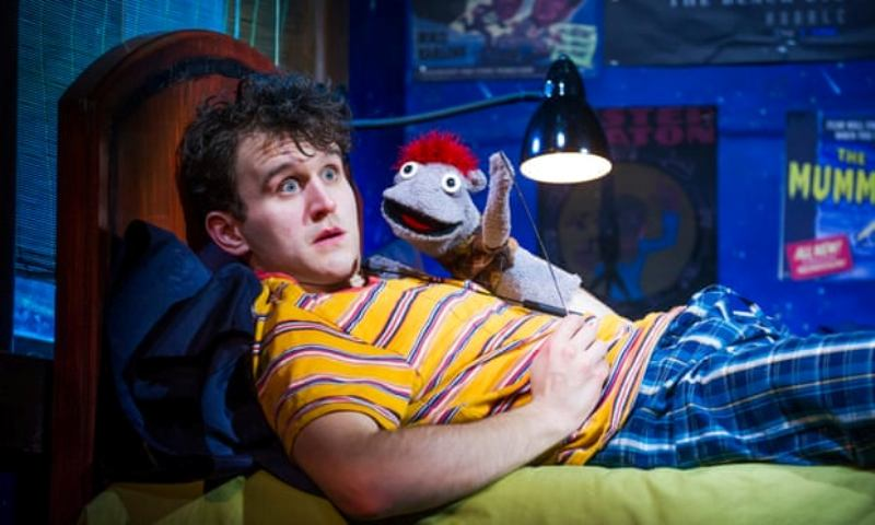 Josh Brener performing puppetry in the play Hand to God (2016)