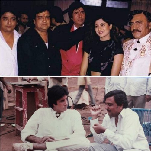K. C. Bokadia with the actors on the sets of the hindi film Aaj Ka Arjun