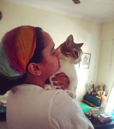 Kalyanee Mulay with her pet cat