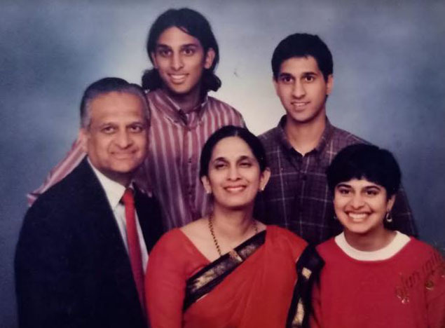 An old family picture featuring Mala Adiga with her parents and two elder brothers