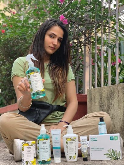 Riya Kishanchandani endorsing Clean Sense beauty products