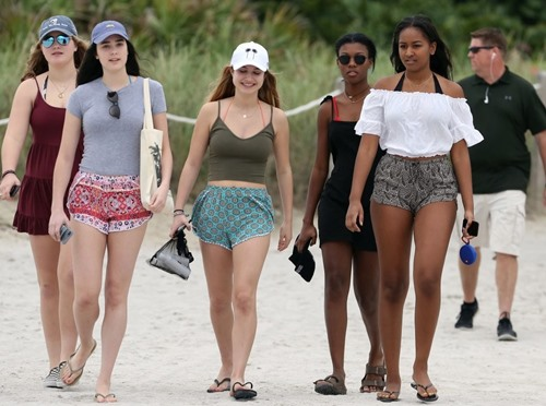 Sasha Obama with her friends in Miami