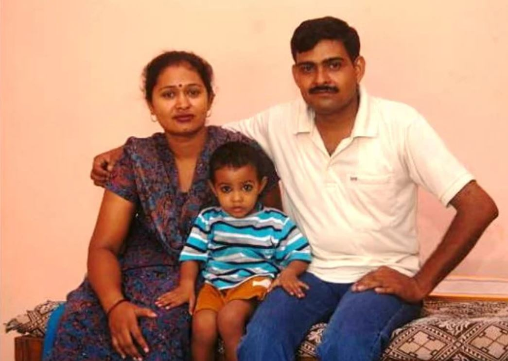 Subedar Major Yogendra Singh Yadav with his wife and younger son
