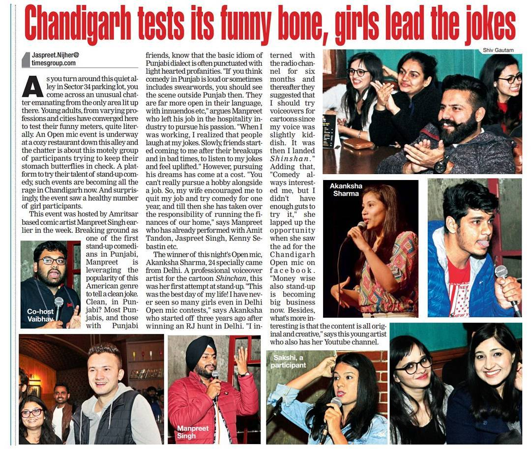 A news article of Akanksha Sharma winning The Open Mic comedy in Chandigarh