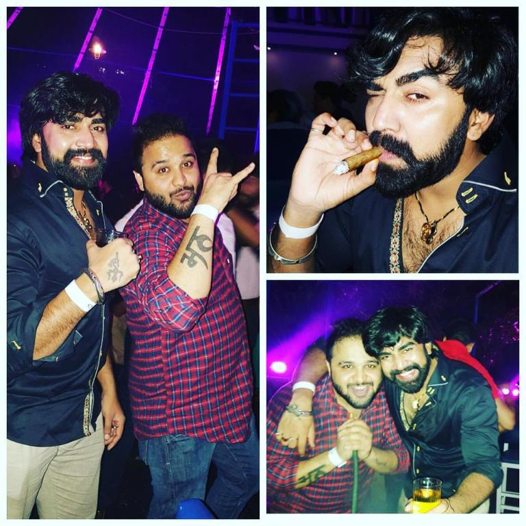 A photo collage of Sandeep Nahar celebrating the new year 2016 with his friend