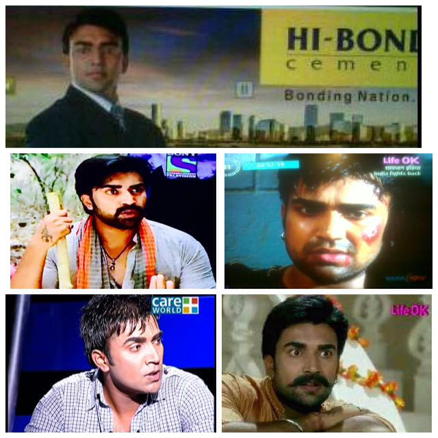 A photo collage of Sandeep Nahar's roles on small screen