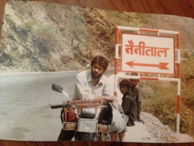 A picture from the early 90s showing young Ajit Anjum on his Hero Honda bike doing ground reporting in Nainital