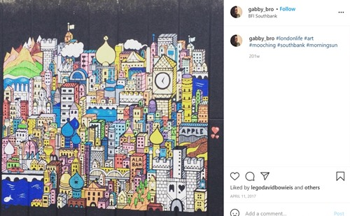 A post about street art graffiti in London on Gabrielle's Instagram account