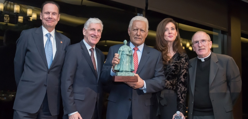 Alex and Jean Trebek receiving Fordham Founder's Award (2020)