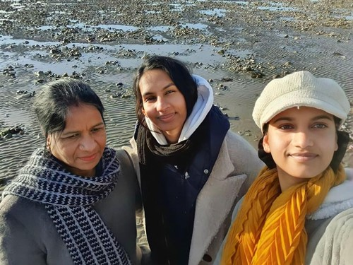Amita Suman with her mother and elder sister