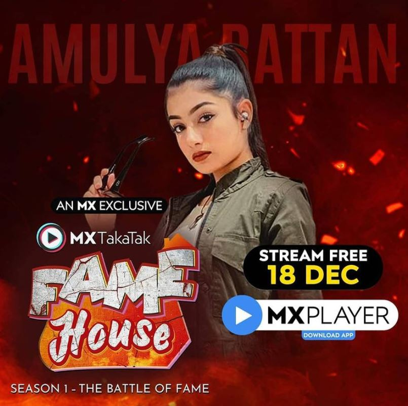 Amulya Rattan as a contestant of Fame House