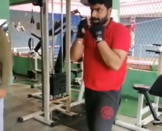 Anoop Krishnan inside the gym