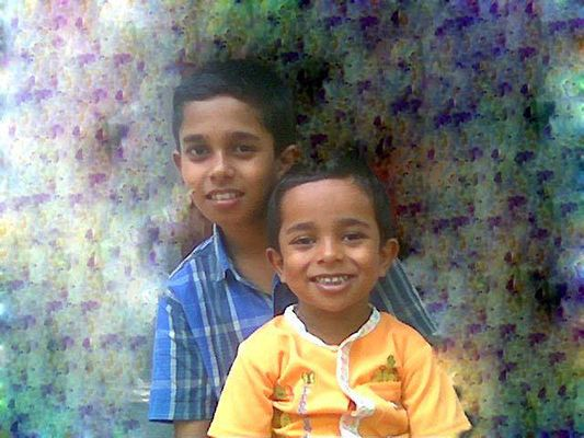 Childhood picture of Adoney John with his brother