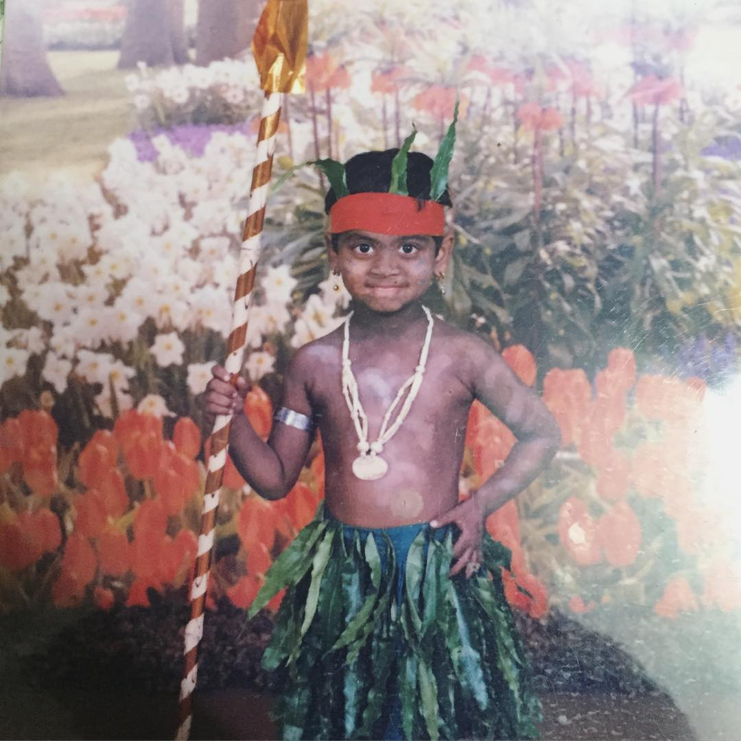 Childhood picture of Shanmukh Jaswanth wearing Lambadi dance costume