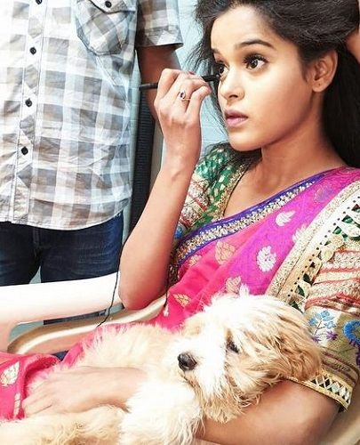 Chinmayee Salvi with her pet dog Whiskey