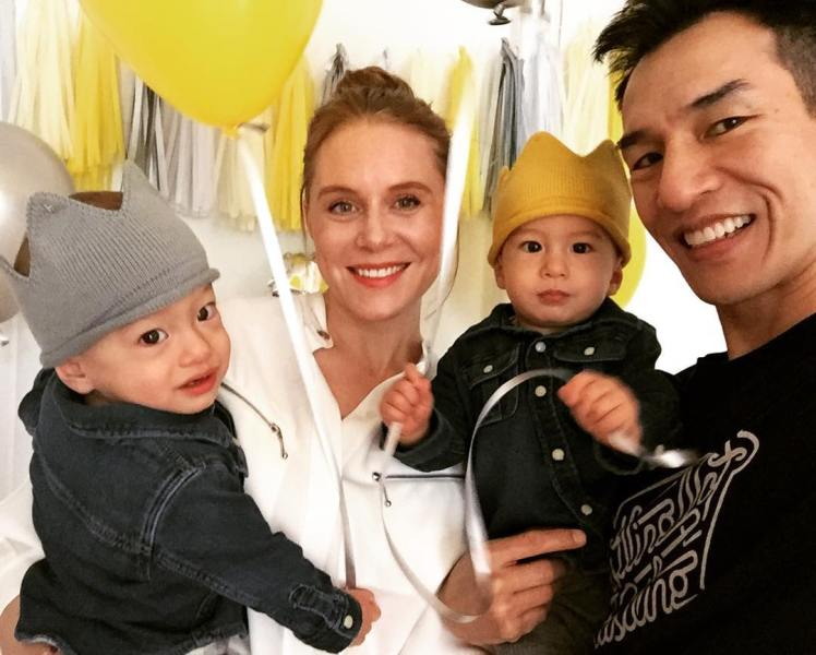 Christiane Seidel with her husband and children