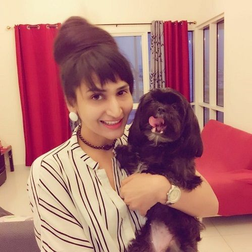 Dimpal Bahl with her pet dog