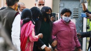 Environmental activist Disha Ravi (second from right) being produced at New Delhi's Patiala House Court by the Delhi Police on 19 February, 2021