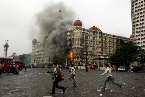 Fire and smoke coming out from the Taj Mahal Palace Hotel after the 26 November attack