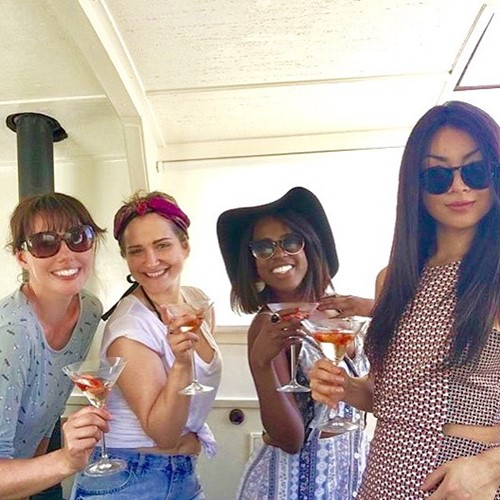 Gabrielle Brooks enjoying an alcoholic beverage with her friends