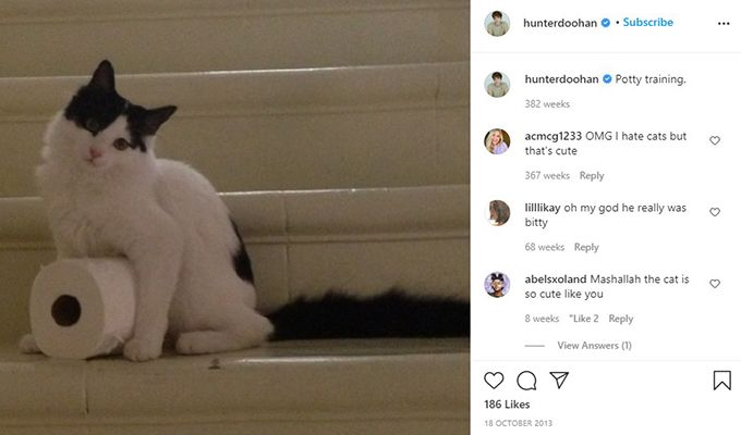 Hunter Doohan talking about his pet cat in an Instagram post