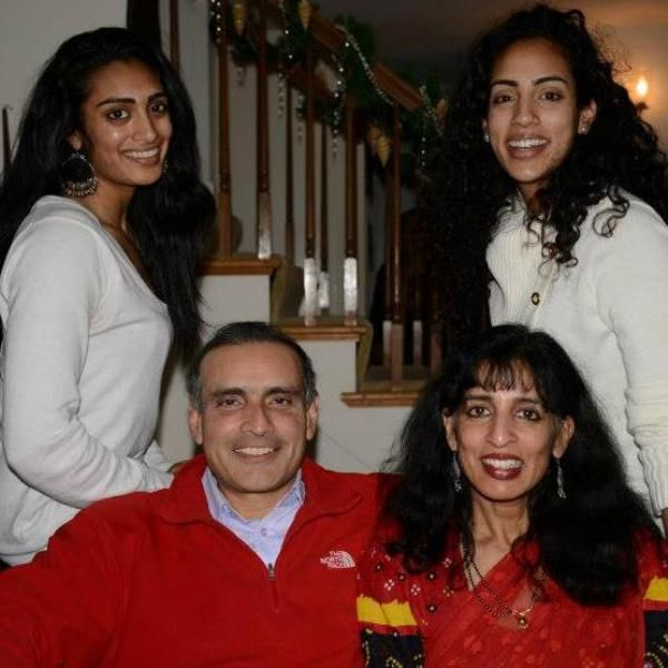 Jayshree Ullal with her husband and daughters