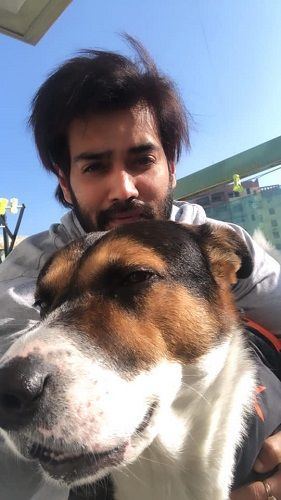 Karan Khanna and his pet dog