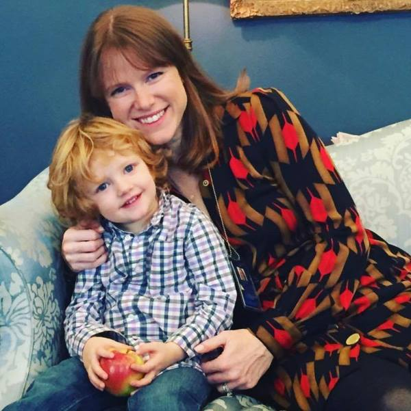 Kate Bedingfield with her son