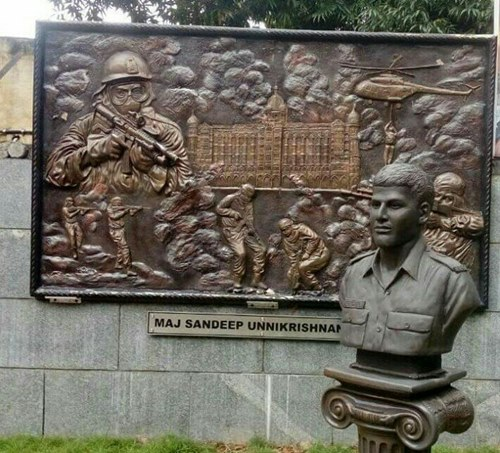 Major Sandeep Unnikrishnan's bust in Bangalore