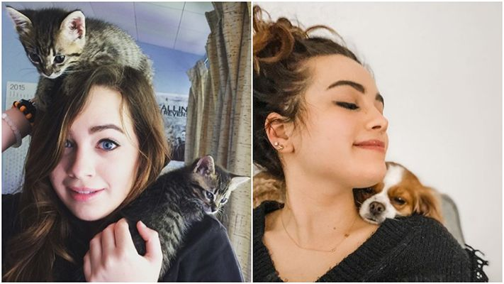 Mary Mouser with her pets