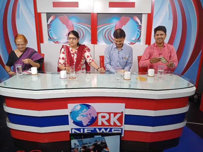 Priyanka Tibrewal (second from left) sitting among the panellists on RK News