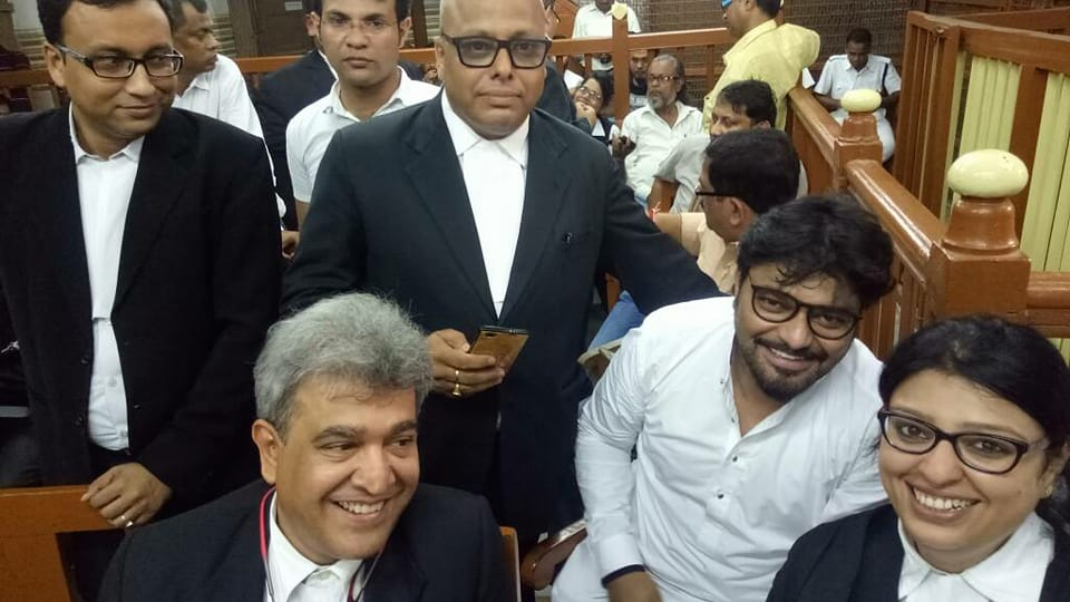 Priyanka Tibrewal with her lawyer colleagues inside the premises of Calcutta High Court