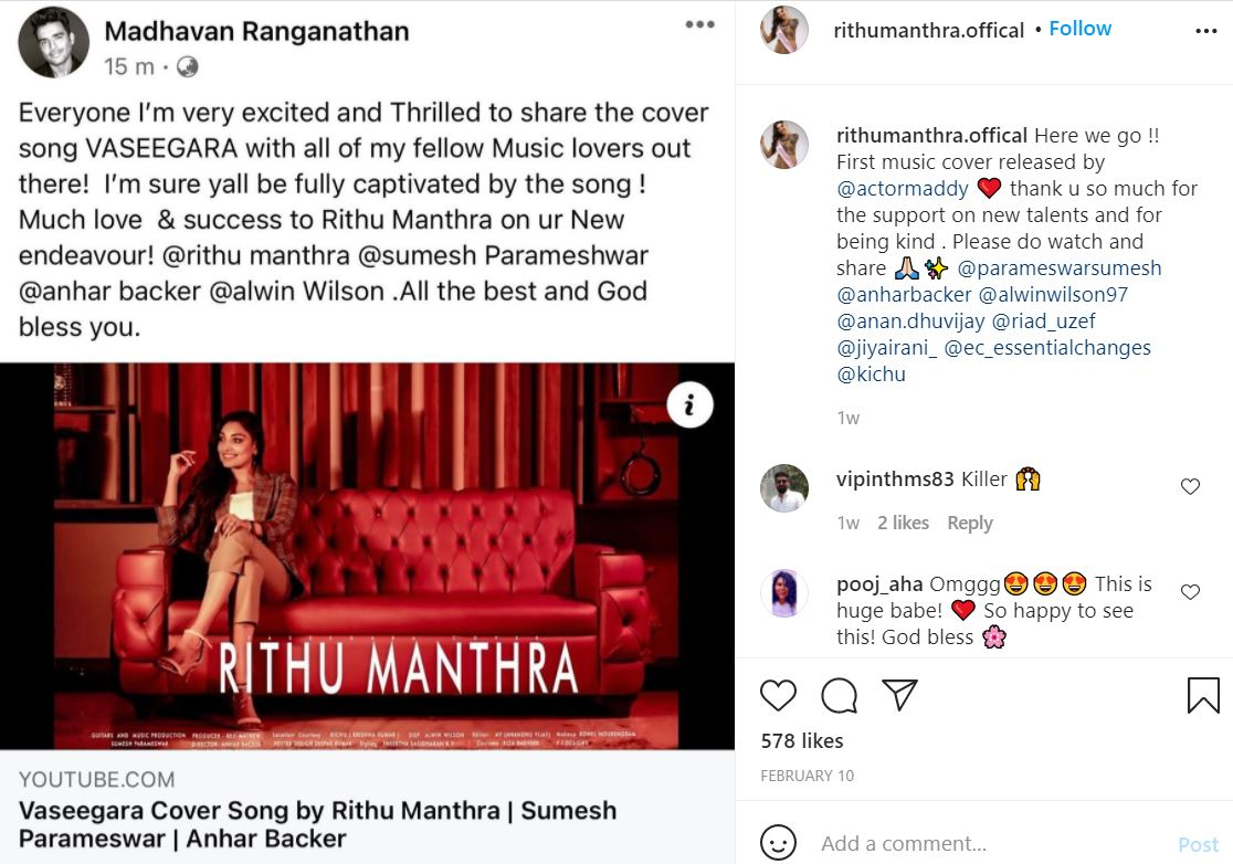 Rithu Manthra's Instagram post